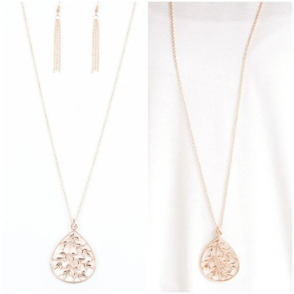 BOUGH DOWN ROSE GOLD NECKLACE/EARRING SET